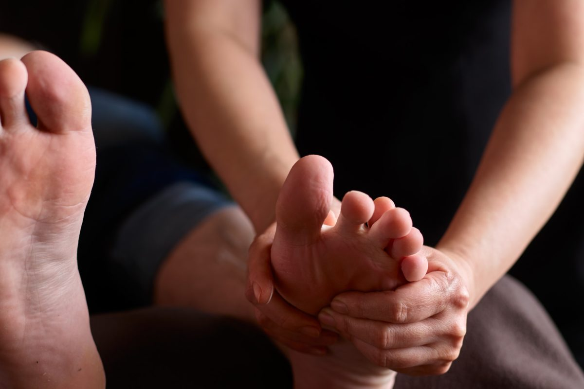 Nails are trimmed, followed by a calming massage to ease tension in the feet and lower legs.