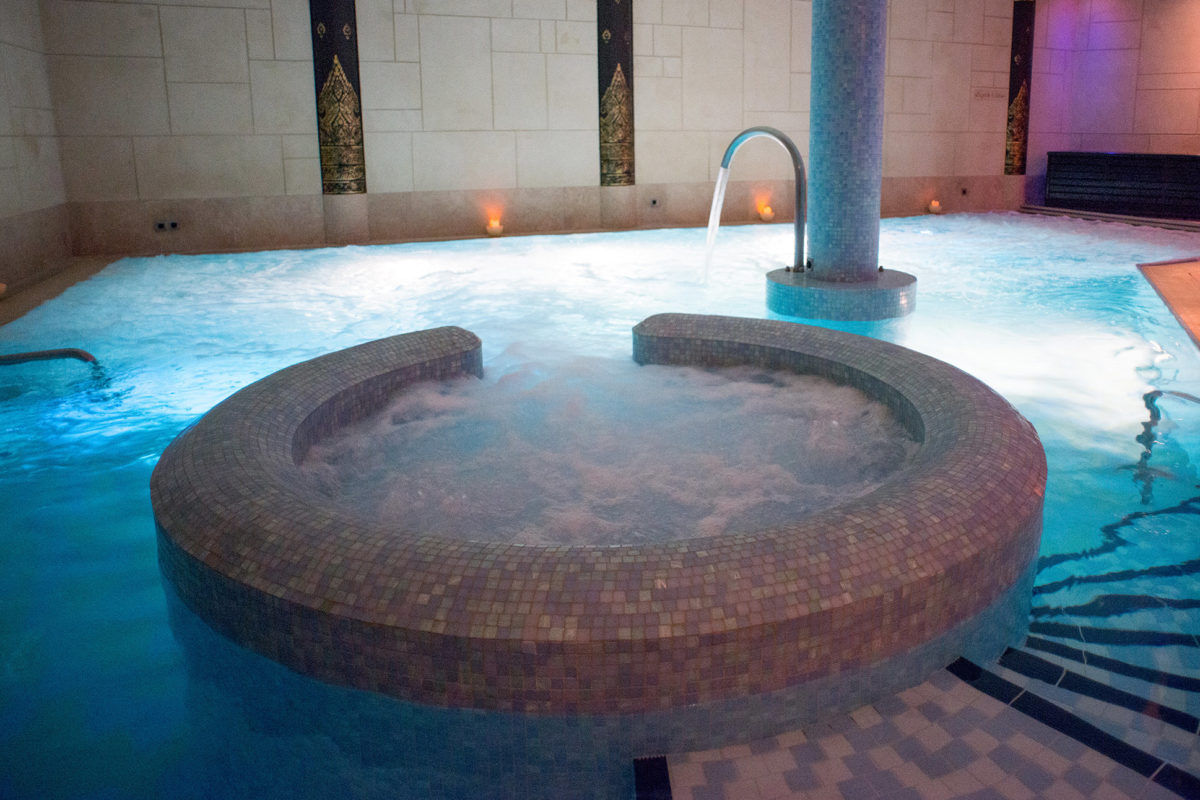 Hydrotherapy Pool with ambient lighting.